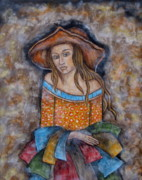 Folk Art Paintings - Adelyn by Rain Ririn