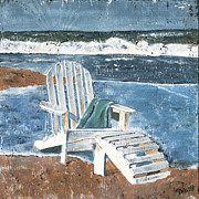 White Blue Posters - Adirondack Chair Poster by Debbie DeWitt