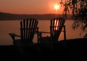 Www Greeting Cards Prints - Adirondack Chairs-1 Print by Michael Mooney