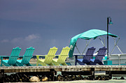 Tropical Destinations Prints - Adirondack chairs at Coyaba Mahoe Bay Jamaica. Print by John Edwards