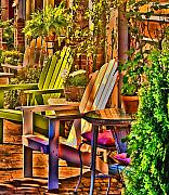 Chairs Digital Art Prints - Adirondack Chairs Print by Dale Stillman