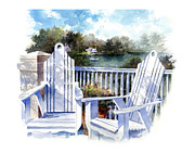 Railing Prints - Adirondack Chairs Too Print by Andrew King