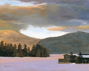 Snowy Painting Originals - Adirondack Morning by Lynne Reichhart