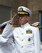 Military Medal Photo Framed Prints - Admiral Michael Mullen Salutes Framed Print by Michael Wood