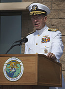 Admiral Mike Mullen Speaks Print by Michael Wood