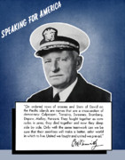 Navy Digital Art Prints - Admiral Nimitz Speaking For America Print by War Is Hell Store
