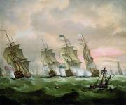 Boats In Water Prints - Admiral Sir Edward Hawke defeating Admiral de Conflans in the Bay of Biscay Print by Thomas Luny