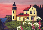 Historic Site Mixed Media Prints - Admiralty Head Lighthouse  Print by James Lyman
