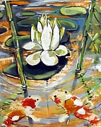 Koi Mixed Media Posters - Admiring A Lotus Poster by Robert Wolverton Jr