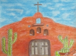 Kathy Marrs Chandler Art - Adobe Church and Cactus by Kathy Marrs Chandler