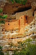 Red Cliffs Prints - Adobe Cliff Dwelling Print by Carol Groenen
