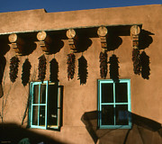 Adobe Drawings Prints - Adobe Facade with Chili Peppers - Santa Fe Print by Peter Art Print Gallery  - Paintings Photos Posters