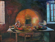 Bottle Caps Painting Posters - Adobe Oven House Poster by Natalya Shvetsky