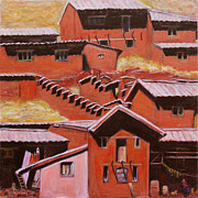 Corns Prints - Adobe Village - Peru Impression II Print by Xueling Zou