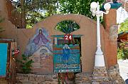 Lamp Post Framed Prints - Adobe Wall Chimayo  Framed Print by David Lee Thompson