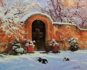 Canyon Paintings - Adobe wall with wooden door in snow. by Gary Kim