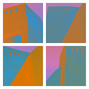 Taos Prints - Adobe Walls Four-Up Print by Carol Leigh