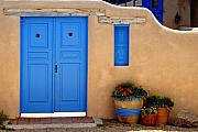 Blue Doors Framed Prints - Adobe Walls with Blue Doors Ranchos De Taos New Mexico Framed Print by George Oze