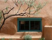 Taos Photos - Adobe Window in Green by Heidi Hermes