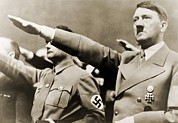 Politics Photo Framed Prints - Adolf Hitler, Giving Nazi Salute. To Framed Print by Everett
