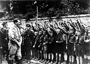 Raised Arms Posters - Adolf Hitler With Hitler Youth Poster by Everett