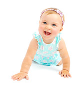 Children Playing Portrait Posters - Adorable little baby girl laughing Poster by Anna Omelchenko