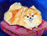 Pomeranian Framed Prints - Adoration - Pomeranian Framed Print by Lyn Cook