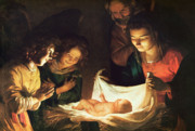 Child Jesus Painting Prints - Adoration of the baby Print by Gerrit van Honthorst