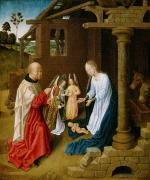 Virgin Mary Framed Prints - Adoration of the Christ Child  Framed Print by Master of San Ildefonso