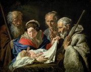 Nativity Painting Posters - Adoration of the Infant Jesus Poster by Stomer Matthias