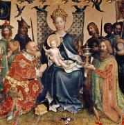 Enthroned Prints - Adoration of the Magi altarpiece Print by Stephan Lochner