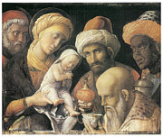Jesus Art Painting Framed Prints - Adoration of the Magi Framed Print by Andrea Mantegna