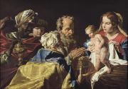 Virgin Mary Paintings - Adoration of the Magi  by Matthias Stomer