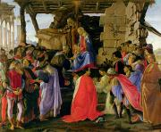 Nativity Painting Prints - Adoration of the Magi Print by Sandro Botticelli