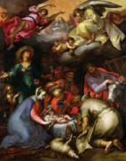 Adoration Of The Shepherds; Shepherd; Infant Jesus Christ; Baby; Child; Joseph; Virgin Mary; Madonna; Holy Family; Stable; Manger; Ox; Oxen; Straw Posters - Adoration of the Shepherds Poster by Abraham Bloemaert