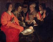 Virgin Mary Paintings - Adoration of the Shepherds by Georges de la Tour