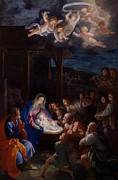 Child Jesus Framed Prints - Adoration Of The Shepherds Framed Print by Guido Reni