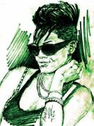 Rihanna Drawings Originals - Adoreable Beauty by Anshu Kaulitz