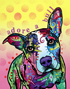 Dog Art Painting Metal Prints - AdoreABull Metal Print by Dean Russo