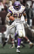 Adrian Peterson Framed Prints - Adrian Peterson Running Framed Print by Douglas Petty