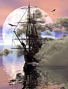Sailing Ship Digital Art Prints - Adrift Print by Claude McCoy