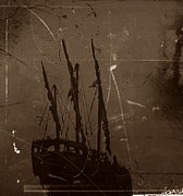 Sailing Ship Mixed Media Prints - Adrift in a Sea Mist Print by Blair Stuart