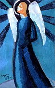 Religious Art Painting Posters - Adrongenous Angel Poster by Genevieve Esson