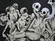 Skulls Pastels Originals - Adulteress by Joel Quiggle