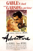 Garson Framed Prints - Adventure, Greer Garson, Clark Gable Framed Print by Everett