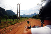 Rear View Mirror Prints - Adventure Motorbike Trip In Laos Print by Thepurpledoor