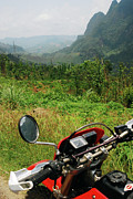 Rear View Mirror Prints - Adventure Motorbike Trip Through Mountains, Laos Print by Thepurpledoor