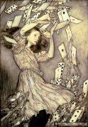 Card Drawings Metal Prints - Adventures in Wonderland Metal Print by Arthur Rackham