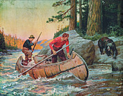 Historic Painting Prints - Adventures On The Nipigon Print by JQ Licensing