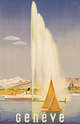 Fountain Painting Prints - Advertisement for travel to Geneva Print by Fehr